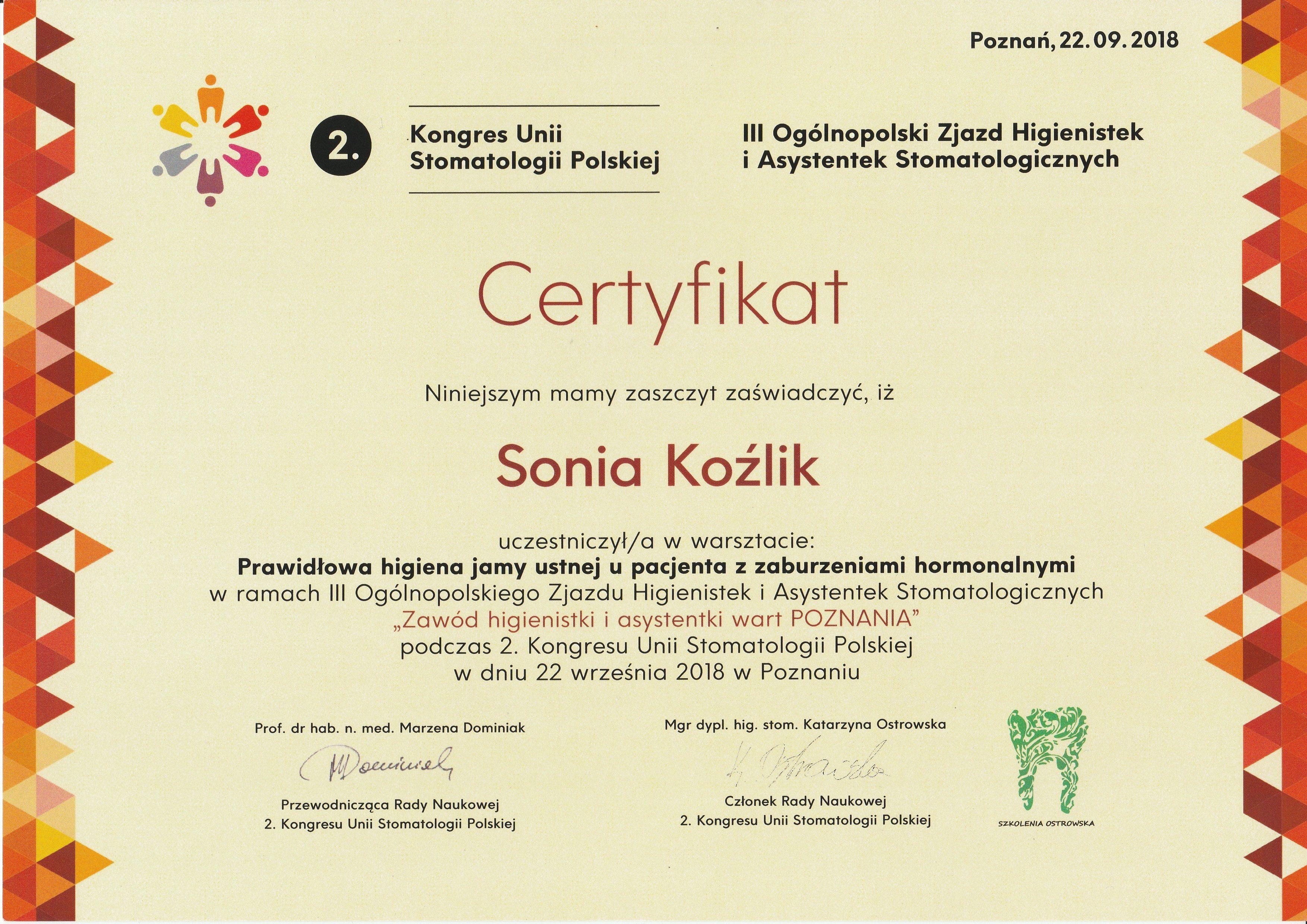 Sonia Koźlik certyfikat 22.09