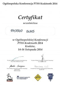 Piotr Suhs certyfikat Kraków 14-16.11.2014