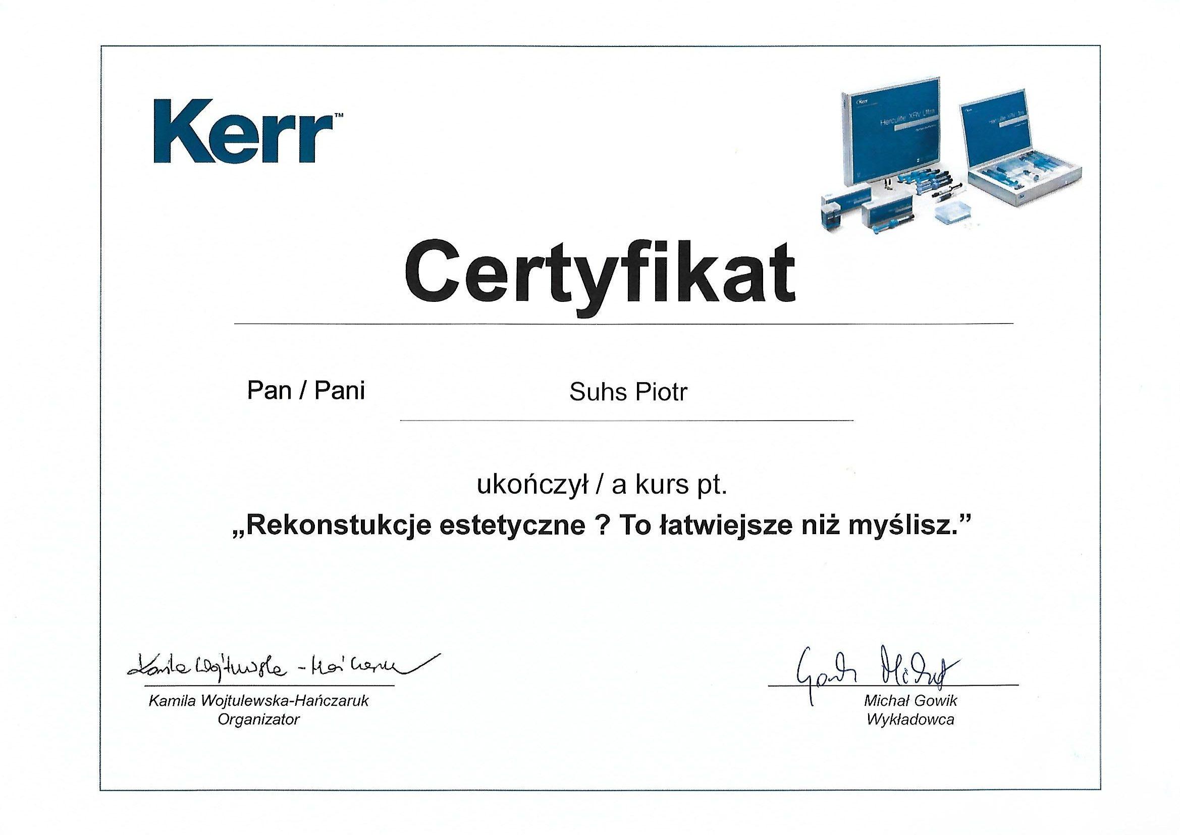 Piotr Suhs certyfikat