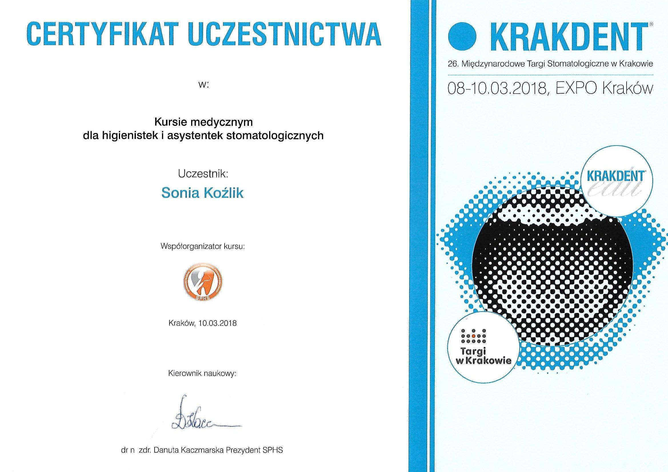 certyfikat sonia kozlik krakdent
