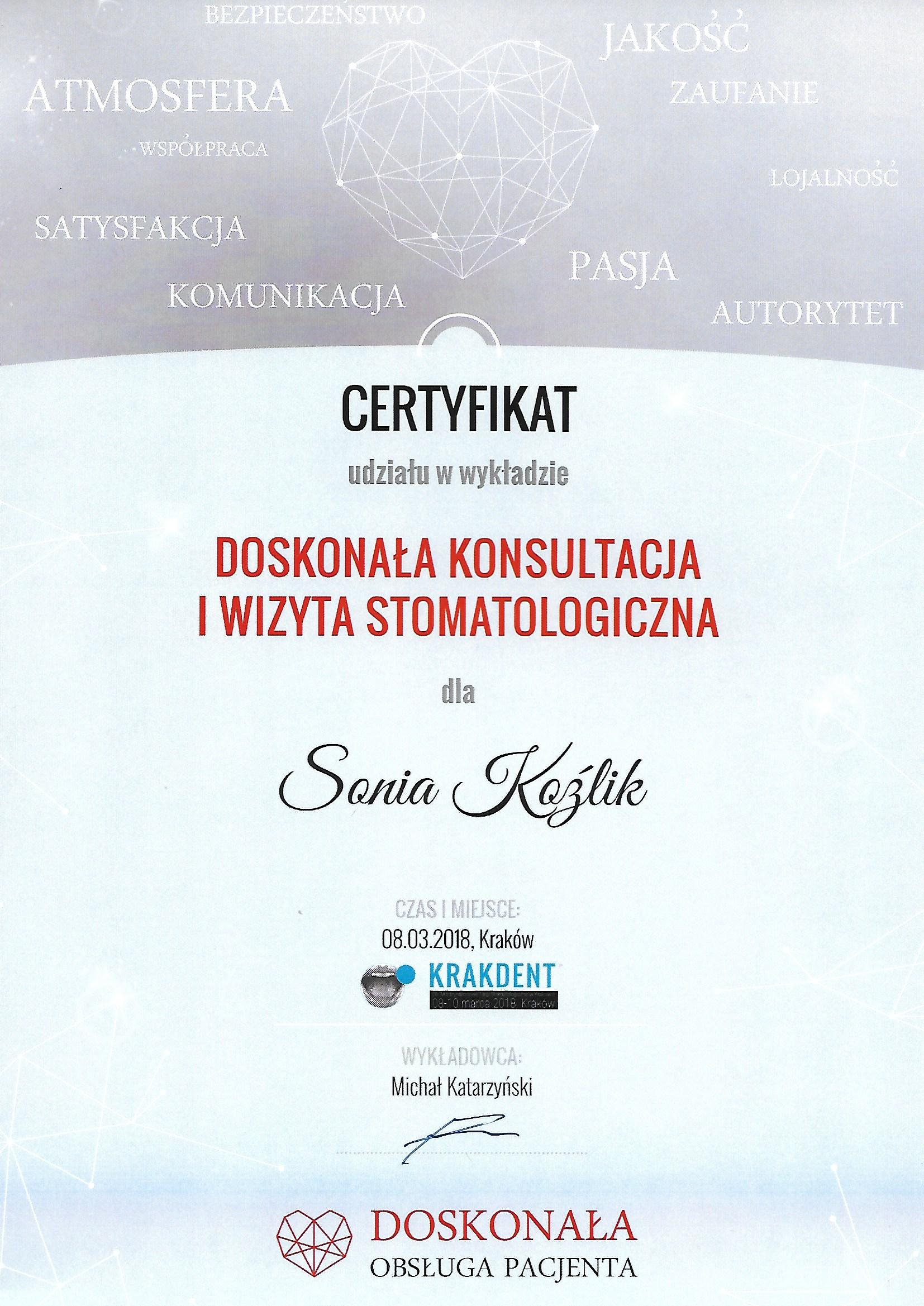 certyfikat sonia kozlik 8.03.18