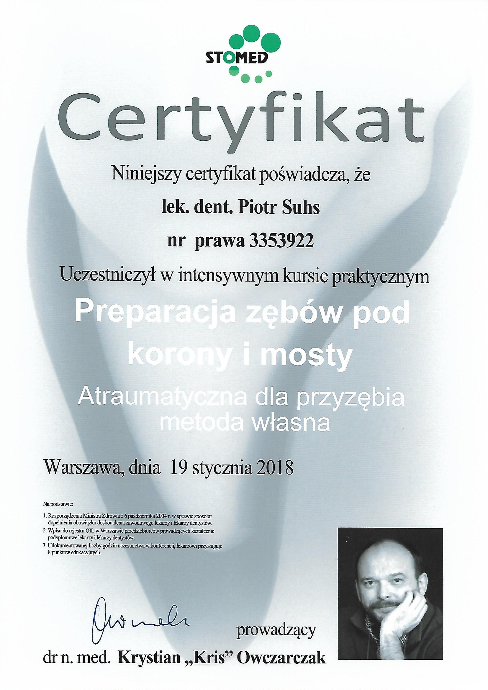 Piotr Suhs Warszawa 19.01.2018