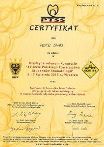 Piotr Suhs certyfikat Wrocław 5-7.04 2013